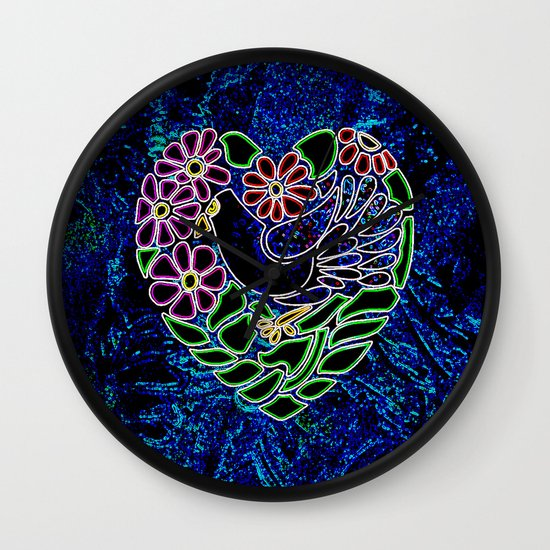 Gothic Bird in Heart Wall Clock