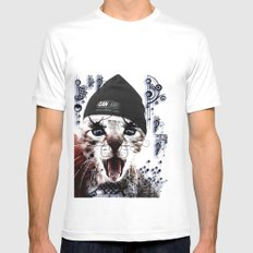 CRAZY CAT Mens Fitted Tee White SMALL