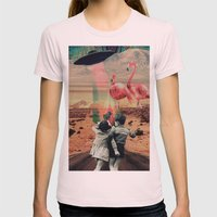 Pink Flamingos Womens Fitted Tee Light Pink SMALL