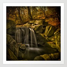 The Central Park Waterfall In Fall Art Print