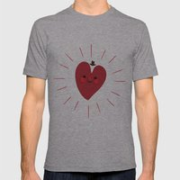 Happy Heart Mens Fitted Tee Athletic Grey SMALL
