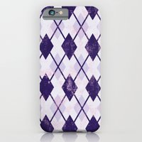 iPhone Cases featuring Argyle Pattern (Rhombus Pattern) - Purple White  by sitnica