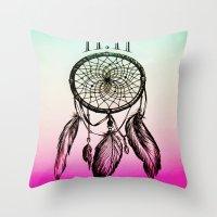 11:11 Eleven Eleven Spiritual Dream Catcher Throw Pillow