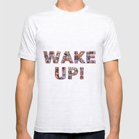 WAKE UP!  Mens Fitted Tee Ash Grey SMALL