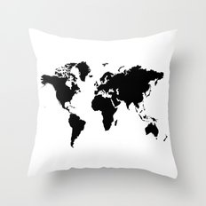Black and White world map Throw Pillow