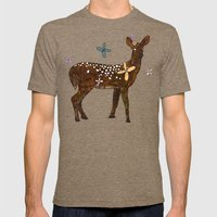 Flower Deer Mens Fitted Tee Tri-Coffee SMALL