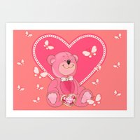 Teddy Bear and Butterflies Art Print