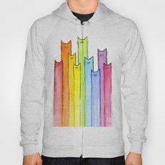 Cat Rainbow Watercolor Pattern Hoody