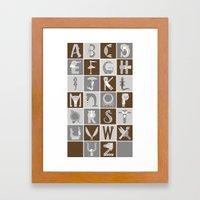Neutral Vertical Animal Alphabet (Complete Poster) Framed Art Print