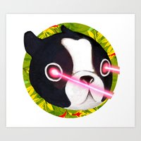 Boston Terrier Laser Art Print