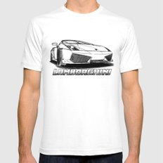 Lamborghini line drawing White Mens Fitted Tee SMALL