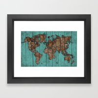 Wood Map Framed Art Print