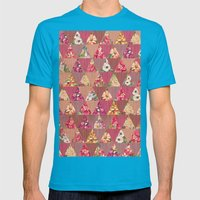 GEOMETRIC MODERN FLOWERS Mens Fitted Tee Teal SMALL