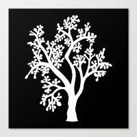 Solo Tree White On Black Canvas Print