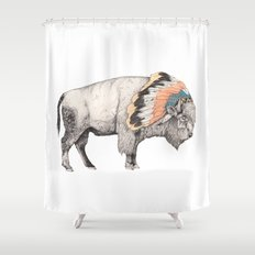 White Bison Shower Curtain