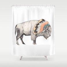 White Bison Shower Curtain
