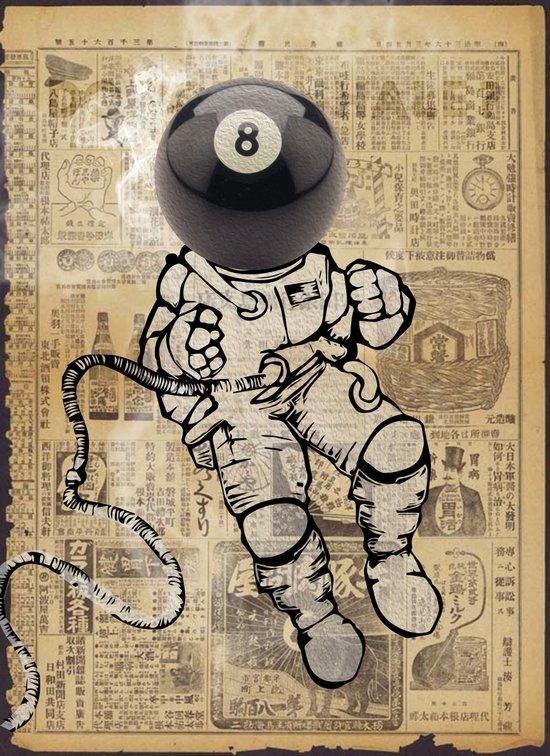 8 ball astronaut Art Print