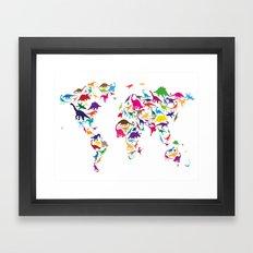 Dinosaur Map Of The Worl… Framed Art Print
