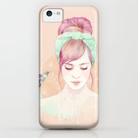 iPhone Cases featuring Pink hair lady by Ariana Perez