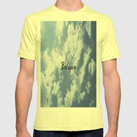 Believe Mens Fitted Tee Lemon SMALL