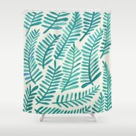 Green Fronds Shower Curtain