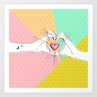Heart Hands [Vintage Candy Edition] Art Print