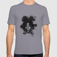 Basquiat botanical portrait Mens Fitted Tee Slate SMALL