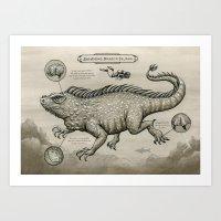 Swimming Dragon Iguana Art Print