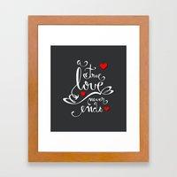 Valentine Love Calligraphy and Hearts V2 Framed Art Print
