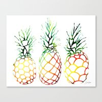 Retro Pineapples Canvas Print