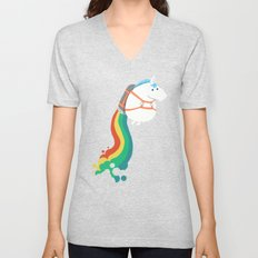 Fat Unicorn on Rainbow Jetpack Unisex V-Neck