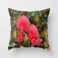 Wild fluffy red flowers Throw Pillow