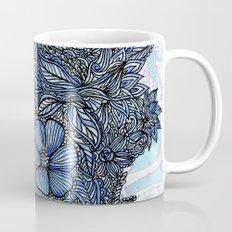 Flowers on blue.  Mug
