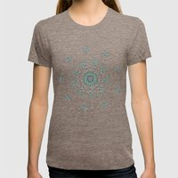 Minimalist flower mandala Womens Fitted Tee Tri-Coffee SMALL