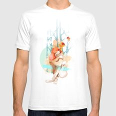 Lonely White SMALL Mens Fitted Tee
