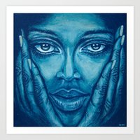 Look At Me-blue Art Print