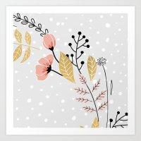 Vector Flowers Grey Art Print