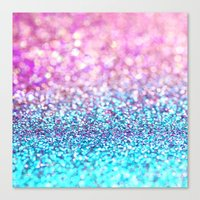 Pastel sparkle- photograph of pink and turquoise glitter Canvas Print