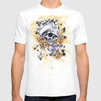Pirate Skull Mens Fitted Tee White SMALL