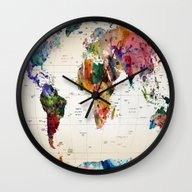 Wall Clock featuring Map by Mark Ashkenazi