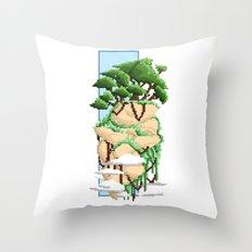 Pixel Landscape : Flying Rock Throw Pillow