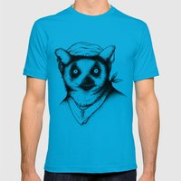 Hipster Lemur Mens Fitted Tee Teal SMALL