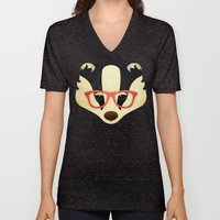 Hipster Badger: Red Unisex V-Neck