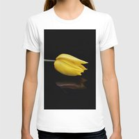 Yellow and Black Womens Fitted Tee White SMALL