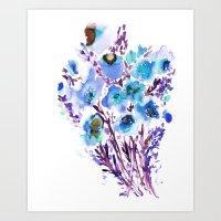 Bouquet Blue Art Print