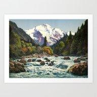 Vintage Mountains Art Print