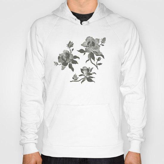 Black Magnolia Pattern Hoody