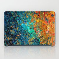 ETERNAL TIDE 2 Rainbow Ombre Ocean Waves Abstract Acrylic Painting Summer Colorful Beach Blue Orange iPad Case