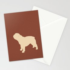 English Bull Dog in brown pattern Stationery Cards