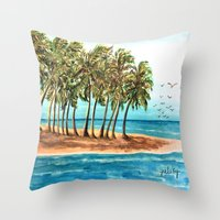 Private Island Painting Throw Pillow